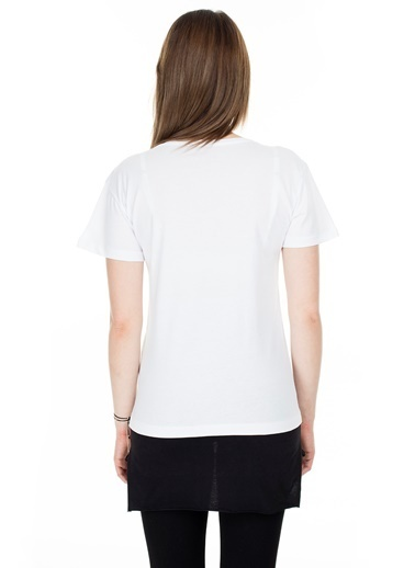 Lela Lela V Yaka Kadın T Shirt 5411079 Beyaz